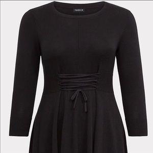 Torrid black lace up sweater dress 1x